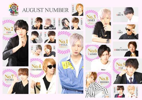 歌舞伎町ホストクラブSETH TOKYOのイベント「8月度ナンバー」のポスターデザイン