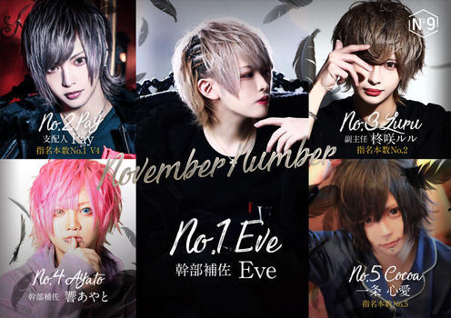 歌舞伎町ホストクラブNo9のイベント「11月度ナンバー」のポスターデザイン
