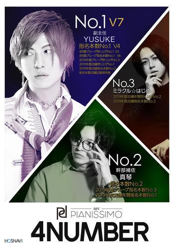 歌舞伎町ホストクラブarc -PIANISSIMO-のイベント「4月度ナンバー」のポスターデザイン