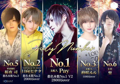 歌舞伎町ホストクラブNo9のイベント「7月度ナンバー」のポスターデザイン