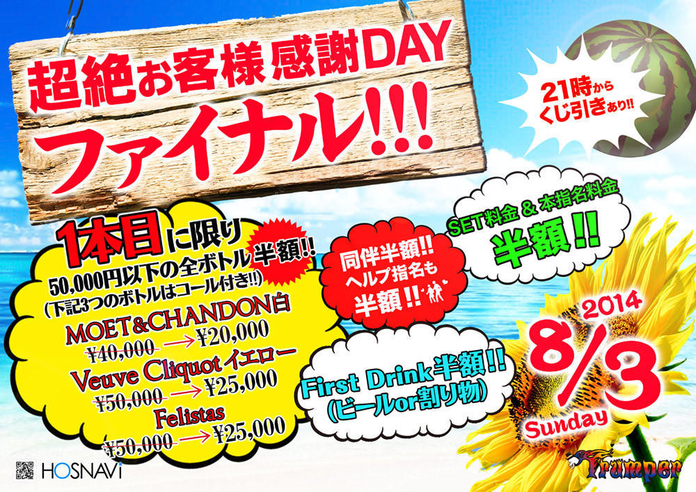 歌舞伎町Trumperのイベント「超絶お客様感謝DAYファイナル」のポスターデザイン