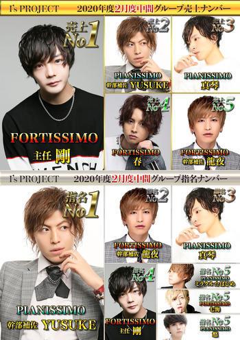 歌舞伎町ホストクラブarc -PIANISSIMO-のイベント「2月度中間ナンバー」のポスターデザイン