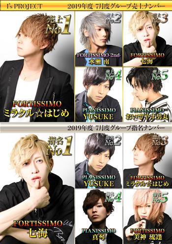 歌舞伎町ホストクラブarc -PIANISSIMO-のイベント「7月度グループナンバー」のポスターデザイン
