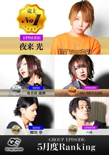 歌舞伎町ホストクラブEPISODEのイベント「5月度グループナンバー」のポスターデザイン
